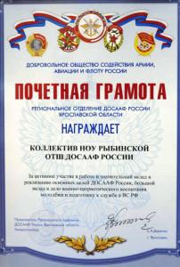 Почетная грамота за активное участие в работе и значительный вклад в реализацию основных целей ДОСААФ России